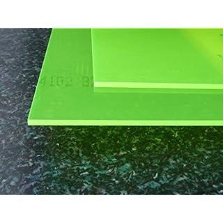 Acrylic C fluorescent green Perspex sheet, 500 x 500 x 3 mm Plate cut fluorescent