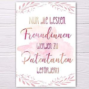 "A6 Postkarte""Nur die besten Freundinnen werden zu Patentanten befördert!"" in rosarot Glanzoptik Papierstärke 235g/m2 Geschenk Freundin – Patentante"