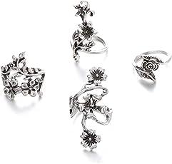 Shining Diva Fashion Silver Midi Finger Flower Rings for Women - Set of 4