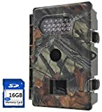 FULLLIGHT TECH 8MP 720P HD Game & Trail Camera with Infrared Night Vision Outdoor Waterproof Hunting Scouting Surveillance Camera with Motion Sensor 1 Year Products Warranty (Low Glow+16GB)