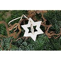 Christbaumschmuck, Weihnachtsdeko, Keramik, doppelter Stern, weißer Stern