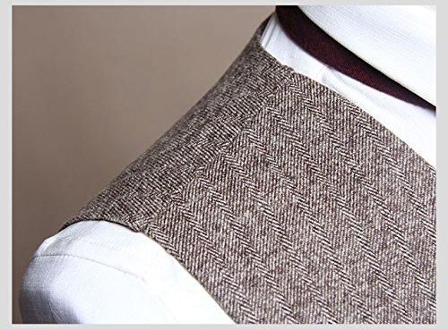 Maglia Da Uomo Doppio Petto Coreano Casual Slim Vest Maglia Da Vento Retrò Britannica Brown
