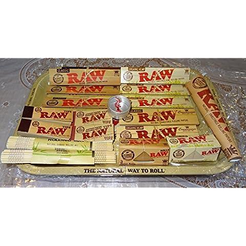 RAW - Set de regalo para fumar (estilo años 70, bandeja de metal, buen regalo para usted o sus seres