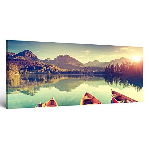 """ge-Bildet® Bild auf Leinwand MIT SOMMER RABATT Naturbilder Landschaftsbilder Panorama """"Tatra Nationalpark in der Slowakei"""" natur türkis sonnenuntergang - 120x50 cm einteilig 2212 D"""