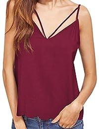 CYBERRY.M Femme Fille Sans Manches Épaules Nues Bretelles Débardeur Vest T-shirt Top