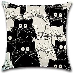 Funda de cojín con diseño del gato Totoro, de Excelsio; de algodón y lino, cuadrada, de 45 x 45 cm; para sofá, cama, sala de estar, dormitorio y decoración del hogar