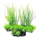 CDKJ 20x18cm Künstliche Aquarium Stein Pflanze Lotusblume Wasser Gras Grün