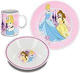 Disney Princess Frühstücks-Set Prinzessinen 3-teilig mit Becher, Teller und Schüssel Kinder-Geschirr Set