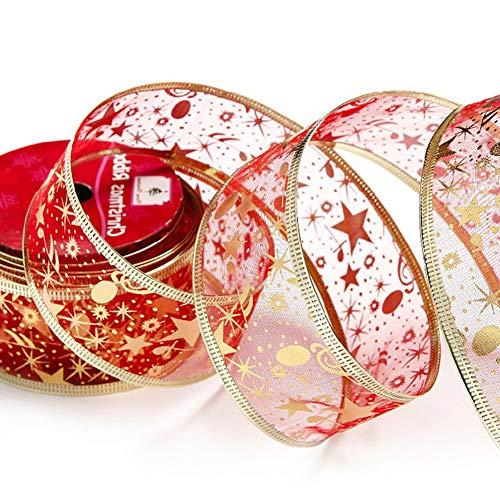 kakakooo 1pc 3J Druck Band Organza-Band-Hochzeit Photo Booth Kulissen Requisiten Dekorationen für Weihnachten Geburtstag Dekorationen - Shiny Red (Photo Kulisse Booth Weihnachten)