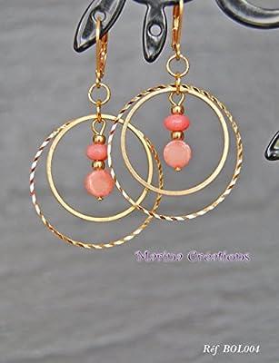 Boucles d'oreilles pendantes laiton corail naturel rose, ethnique chic Réf BOL004