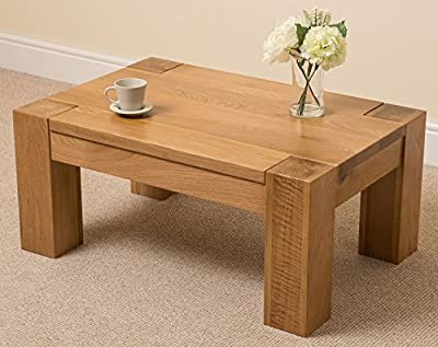 Kuba Chunky Solid Oak Wood Large Coffee Table Unit Wooden Living Room, 90 x 40 x 60cm