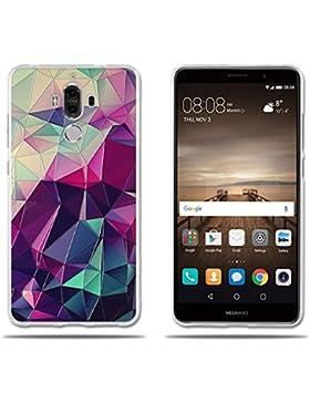 Funda Huawei Mate 9 Carcasa de Silicona Transparente TPU, 3D Relear,Dibujo de Colorido Cubo Mágico, Flexible -...