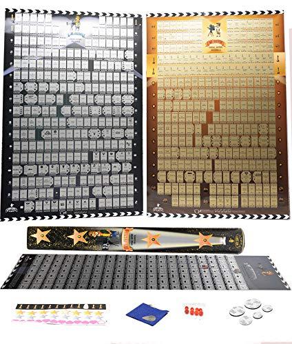 Poster mit Bucket List Bestehend aus 600 Filmen und Flaggen - Drei in Einem Packet - Kino des 20. und 21. Poster zum Freirubbeln - Kultfilme von Mymap -