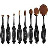 EmaxDesign ovalada Juego de brochas de maquillaje, 8 piezas