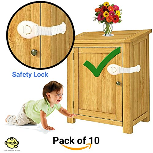 Snuggles Furniture Safety Locks for Kids (21x5cm, White) - 10 Pcs