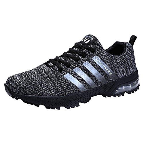 Damen Herren Laufschuhe Sportschuhe Turnschuhe Trainers Running Fitness Atmungsaktiv Sneakers(Schwarz,Größe41)