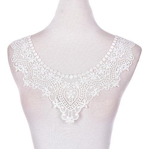 1 Stück Gestickte Weiß Spitze Ausschnitt Ansatz Spitzenkragen Lace Collar Applique Patches Trim Embellishments Für Kleid Dekor (Patch-dekor)