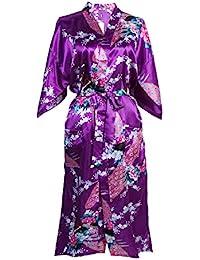 e6c165df734 Elite99 Women s Sexy Robes Peacock and Blossoms Kimono Satin Nightwear  Dress Long
