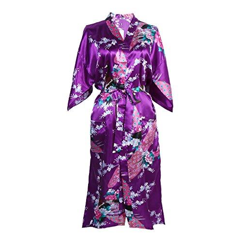 Elite99 Women's Sexy Robes Peacock and Blossoms Kimono Satin Nightwear Dress Long (XL, Purple)