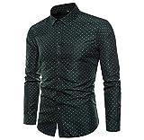 Luckycat Bedrucktes Businesshemd für Männer Casual Langarmhemd Regular Fit Button Down Point Kragenhemd Mode 2018