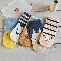 5 pares / porción Corea ocasional calcetines de las mujeres de dibujos animados del gato de tobillo calcetines Pingüino lindo del perro de animal Calcetines Calcetines algodón de la muchacha del estud