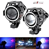 #6: Allextreme U7 Led Bike Driving Drl Fog Light Spotlight, High/Low Beam, Flashing-With Blue Angel Eyes Light Ring (Pack Of 2)