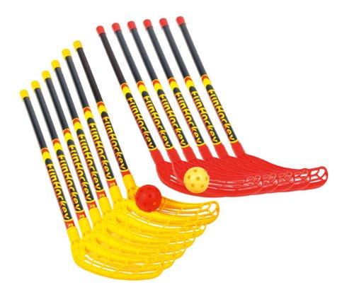 Fun-Hockey Schläger-Set: 12 Schlägern (6 x rot und 6 x gelb) und 12 Turnierbälle