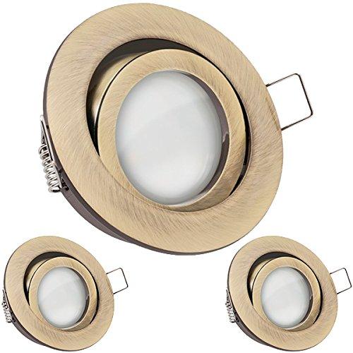 3er LED Einbaustrahler Set Messing mit LED GU10 Markenstrahler von LEDANDO - 5W - warmweiss - 120° Abstrahlwinkel - schwenkbar - 35W Ersatz - A+ - LED Spot 5 Watt - Einbauleuchte LED rund