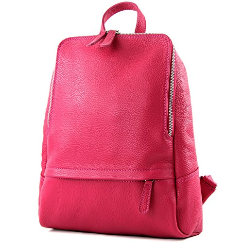 modamoda de - ital Damen Rucksacktasche aus Leder T138, Präzise Farbe:Pink