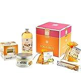 Geschenkbox der Bademeisterei YOGA BOX mit hochwertigen Kosmetikprodukten.