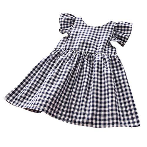 KIMODO Baby Mädchen Kleid Rückenfreies Kariertes Rüschen Kleinkind Kleid Urlaub Sommerkleid Party Prinzessin Lässig Outfit ()