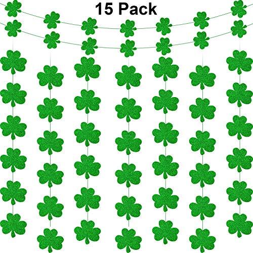 Zhanmai 15 Stück St. Patrick's Day Shamrock Dekorationen Shamrock Banner Garland - Glückliche irische Party Hängende Ornamente Garland -