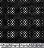 Soimoi Schwarz Georgette Viskose Stoff Weiß dots Stoff