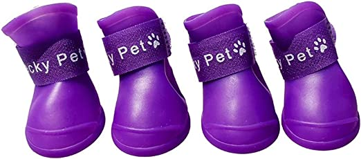 Fansport Puppy Dogs Waterproof Plastic Rain Shoes Boots (Purple, S)