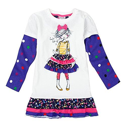 Novatx Vestito Pois Manica Lunga Cotone Vestiti H3660 Bambina Ragazze 1-6 anni Cream 6T