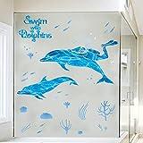 Frogman schwimmen mit blauen Wandsticker der Delphine Taucher Unterwasserabenteuer Kinder Schlafzimmer Badezimmer wasserdichte Aufkleber Aufkleber