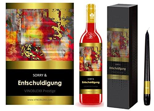 ENTSCHULDIGUNG. 1er Geschenkset KLASSIK Perlwein (LADYLIKE spezielles Damengetränk). Ein Geschenk mit Stil & Prestige in Golddruck das jeden begeistert. Hochwertiger Qualitätswein. Verschiedene Etiketten-Designs, aktuell: abstrakt