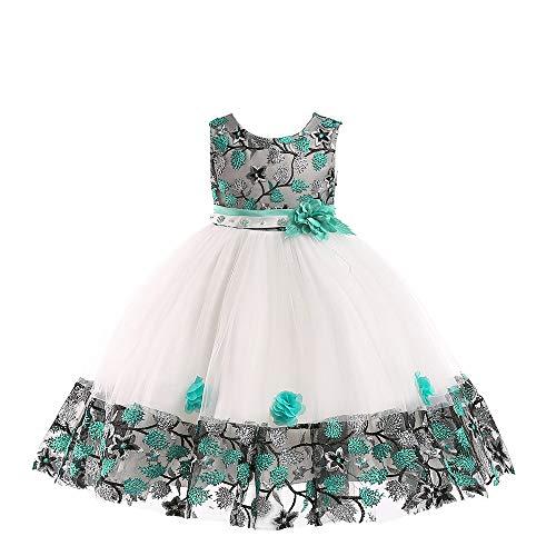 dchen ärmelloses formelles Kleid kleine Mädchen bestickte Blätter Blume Spitze Tüll Tutu Rock Geburtstag Party Hochzeitskleid ()