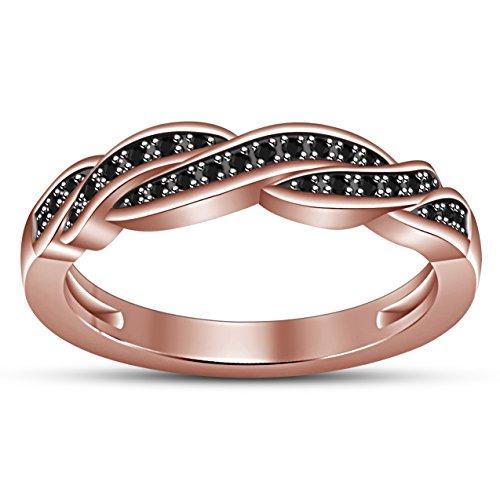 Lilu gioielli in argento sterling 925placcato in oro rosa 14k donna affascinante anello a fascia e argento, 11, cod. rg26878_21