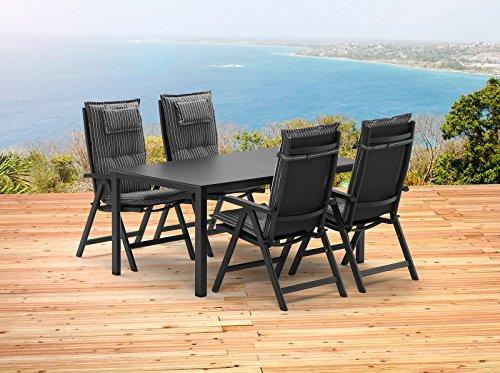 Kettler BASEL 1 Tisch 140x95 cm und 4 Klappsessel und 4 Auflagen Gartenmöbel in anthrazit