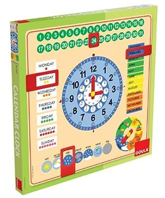 Goula - Reloj y calendario en inglés, material educativo (Diset 51307) de Diset