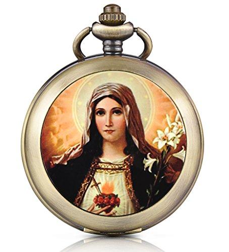 Unendlich U Jungfrau Maria Handaufzug Mechanische Taschenuhr Weißes Zifferblatt Skelettuhr Foto Medaillon Pullover Halskette, beide Ketten