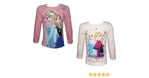 Bambina T-Shirt Maglia Maglietta Manica Lunga Autunno Inverno Cotone Disney Frozen 2 Elsa e Anna