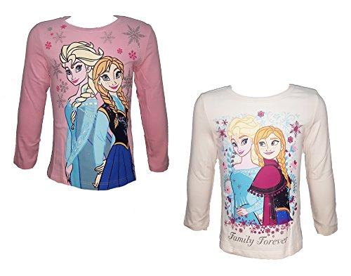 Disney 2 maglie manica lunga bimba puro cotone frozen elsa e anna art. 121824 rosa panna (6 anni)