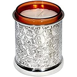Wentworth peltre-Love de calavera de peltre vela votiva-H: 90mm diámetro: 75mm