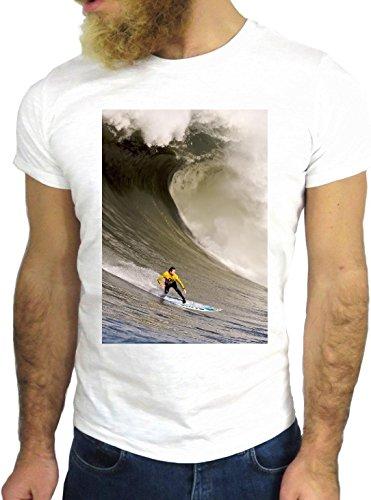 T-SHIRT JODE GGG24 Z1043 OCEAN MAN BOY GUY SURF LANDSCAPE UK AMERICA WAVES BIANCA - WHITE