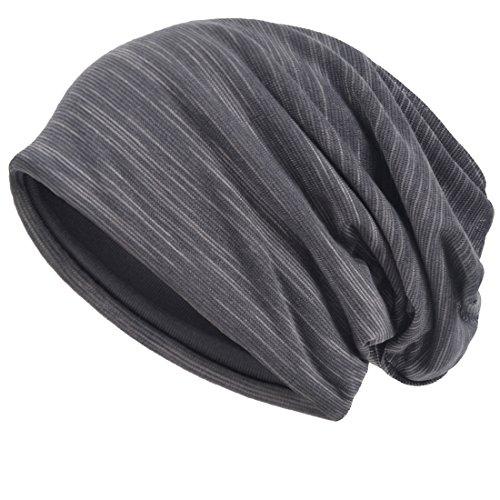 Herren Slouch Hollow Mütze Thin Sommer Cap Strickmützen Beanie Skullcap (Grau)