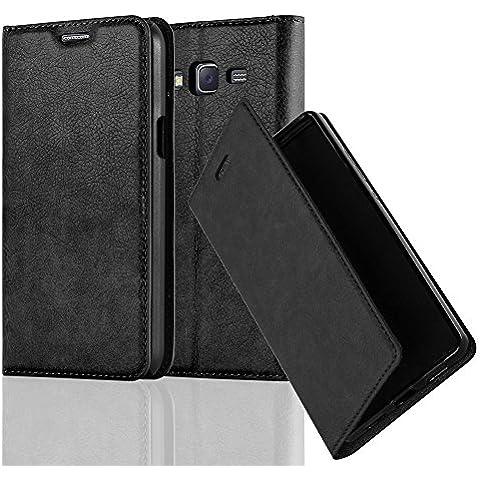 Cadorabo - Funda Book Style Cuero Sintético en Diseño Libro Samsung Galaxy J5 (Modelo 2015) - Etui Case Cover Carcasa Caja Protección con Imán Invisible en NEGRO-ANTRACITA