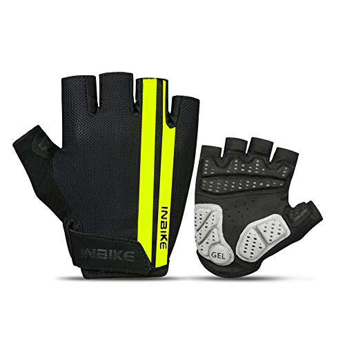 Inbike Handschuhe Herren und Damen Fahrradhandschuhe Halbfinger für Radsport Radfahren Mountainbike Reiten(schwarz&gelb L)