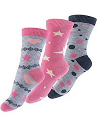 Lot de 6 paires de socquettes pour fille - design: Design: astérisque, point, coeur -multicolore - fille